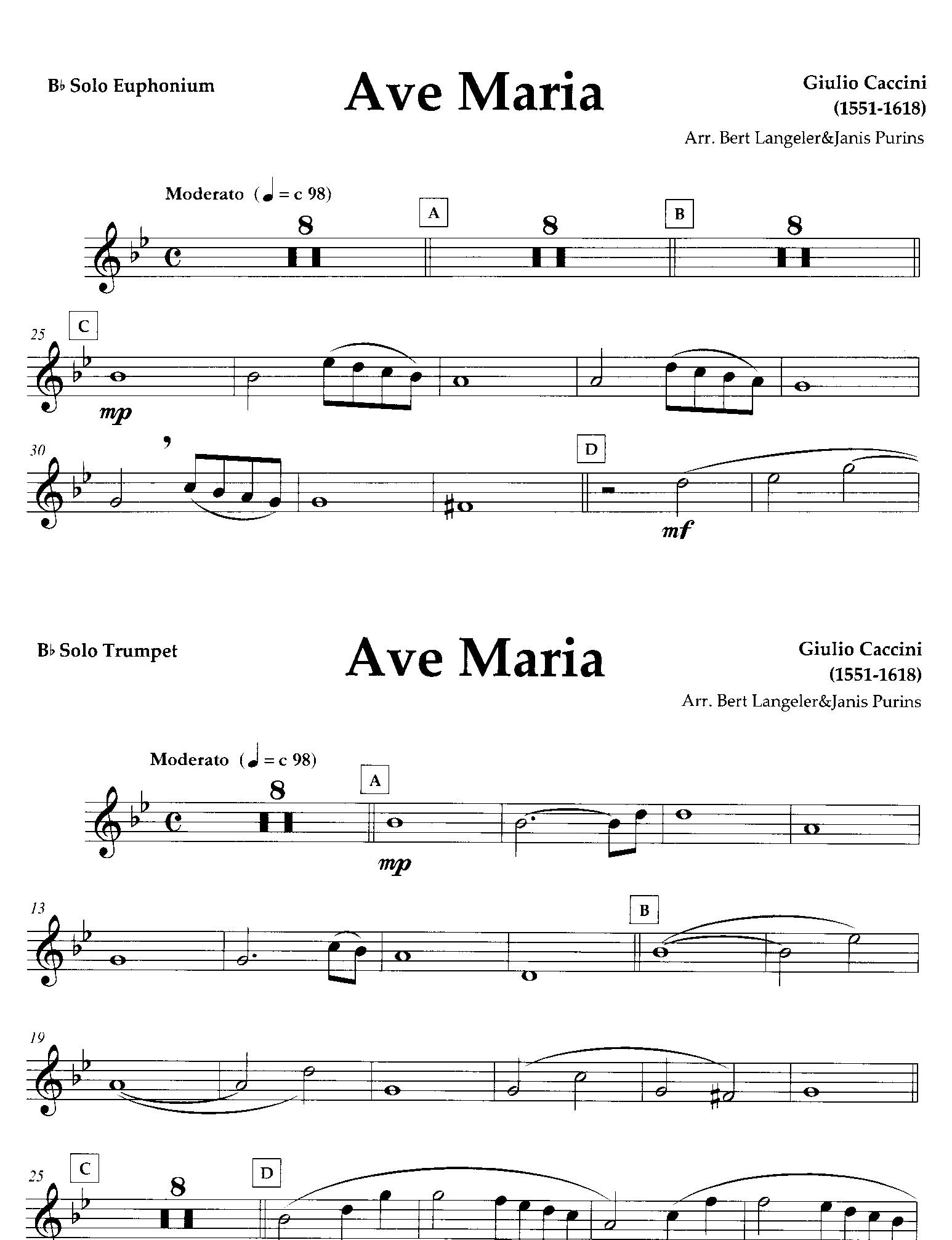Ave Maria - Giulio Caccini Arr.Langeler/Purins - Duet for Euphonium ...