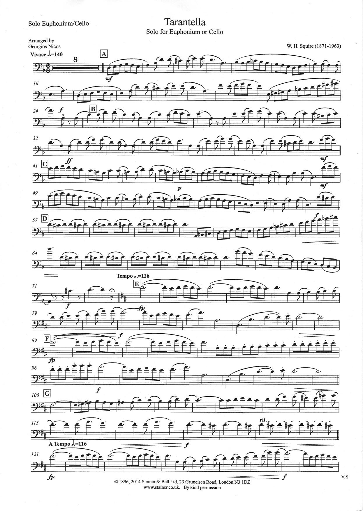 Tarantella Whsquire Arrnicos Solo Euphonium And Wind