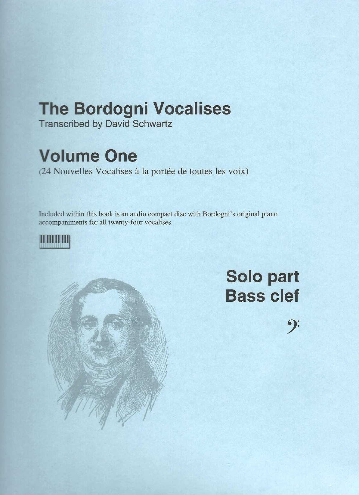 Bordogni Vocalises (Rochut) in bass clef - Vol.1 (24 pieces) - with piano acc. on CD