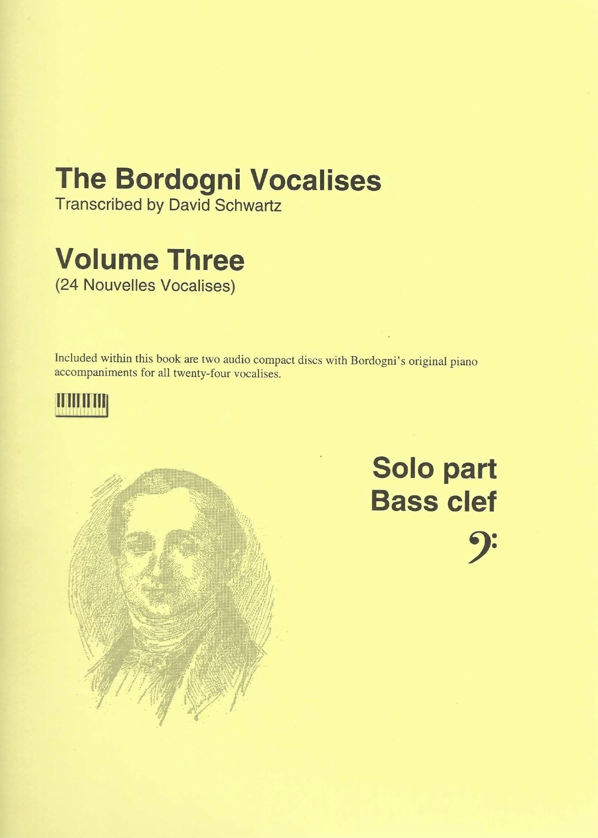 Bordogni Vocalises (Rochut) in bass clef - Vol.3 (24 pieces) - with piano acc. on CD