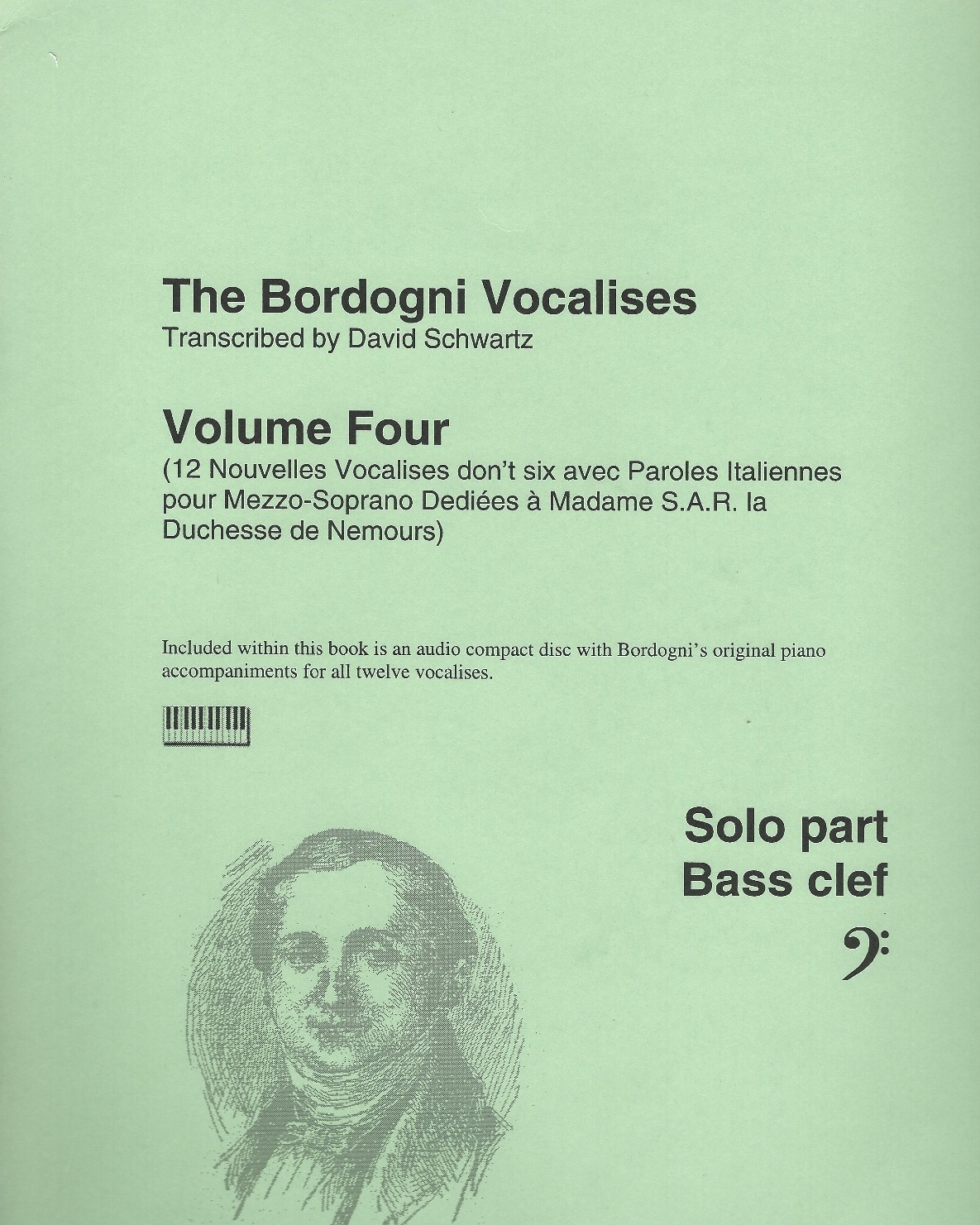 Bordogni Vocalises (Rochut) in bass clef - Vol.4 (12 pieces) - with piano acc. on CD