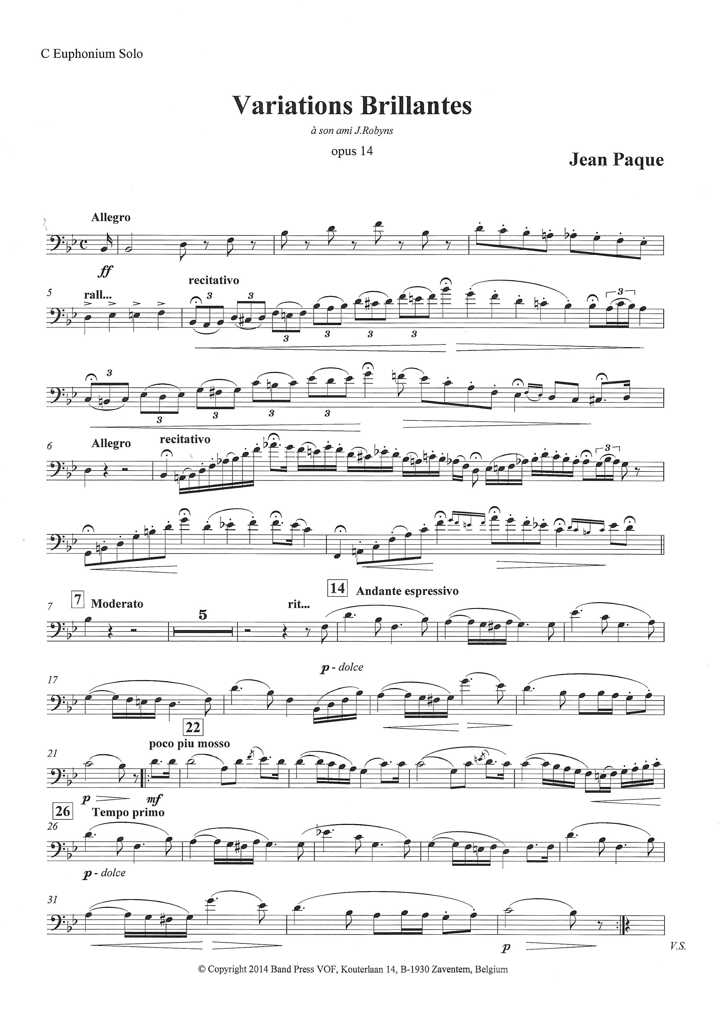 solo for Euphonium or Baritone and Piano