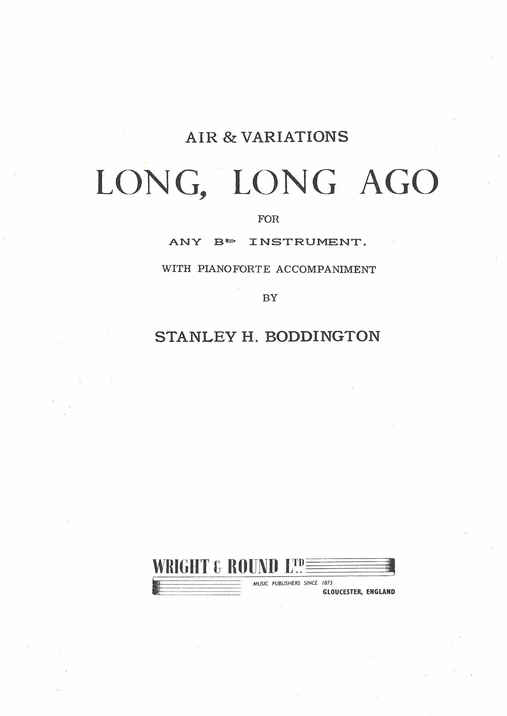 Long, Long Ago - Stanley Boddington - Euphonium and Piano