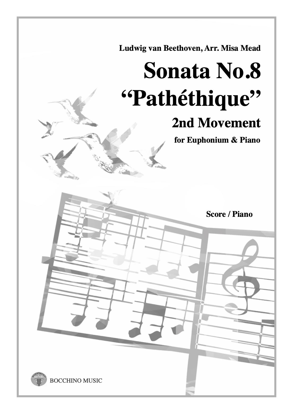 Digital download - Sonata No.8 Pathethique 2nd Mov. - Beethoven Arr. Misa Mead - Euphonium and Piano