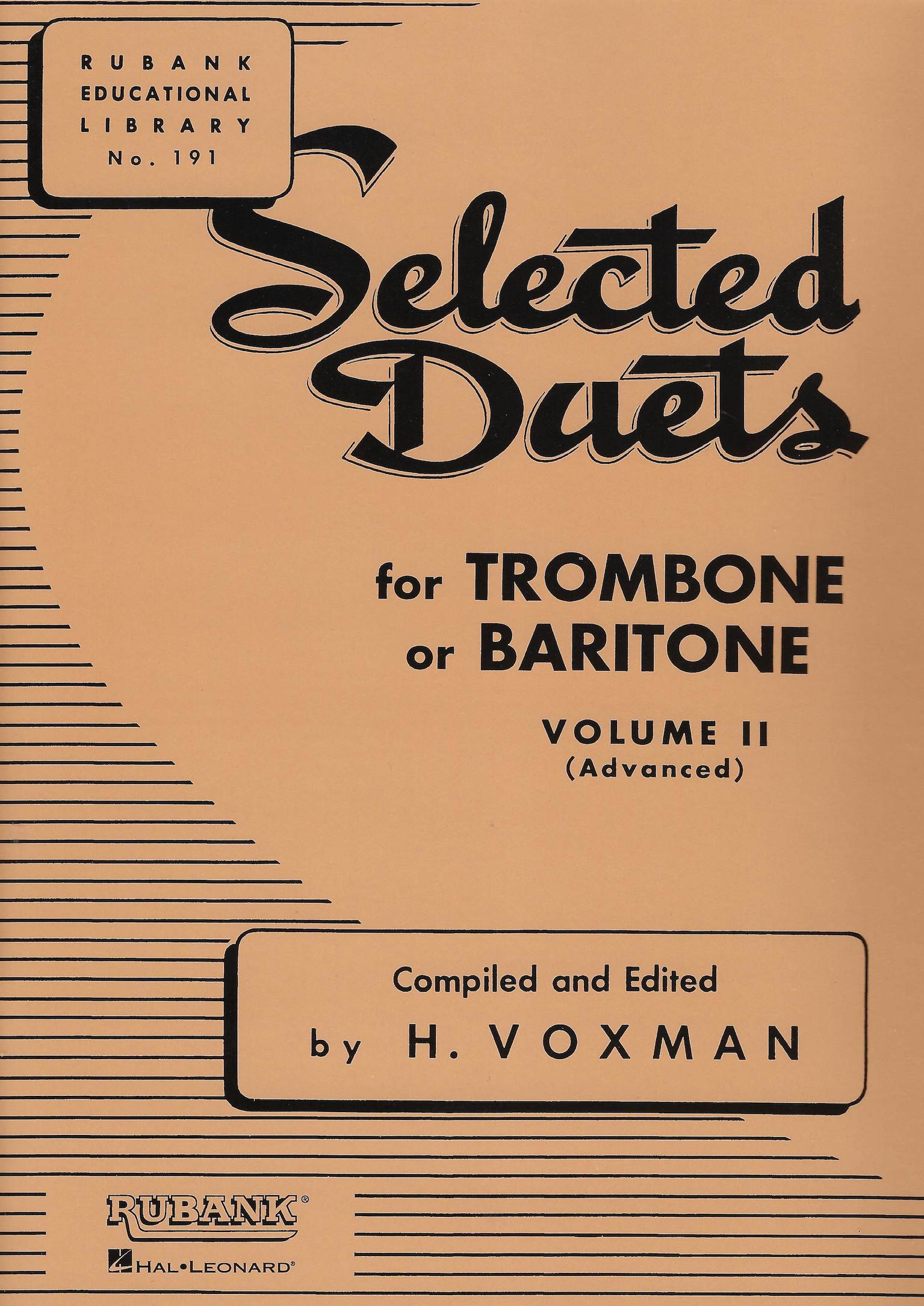 Selected Duets for Trombone of Baritone (Euphonium) Vol.2 (Medium-Advanced) - H. Voxman - Bass Clef