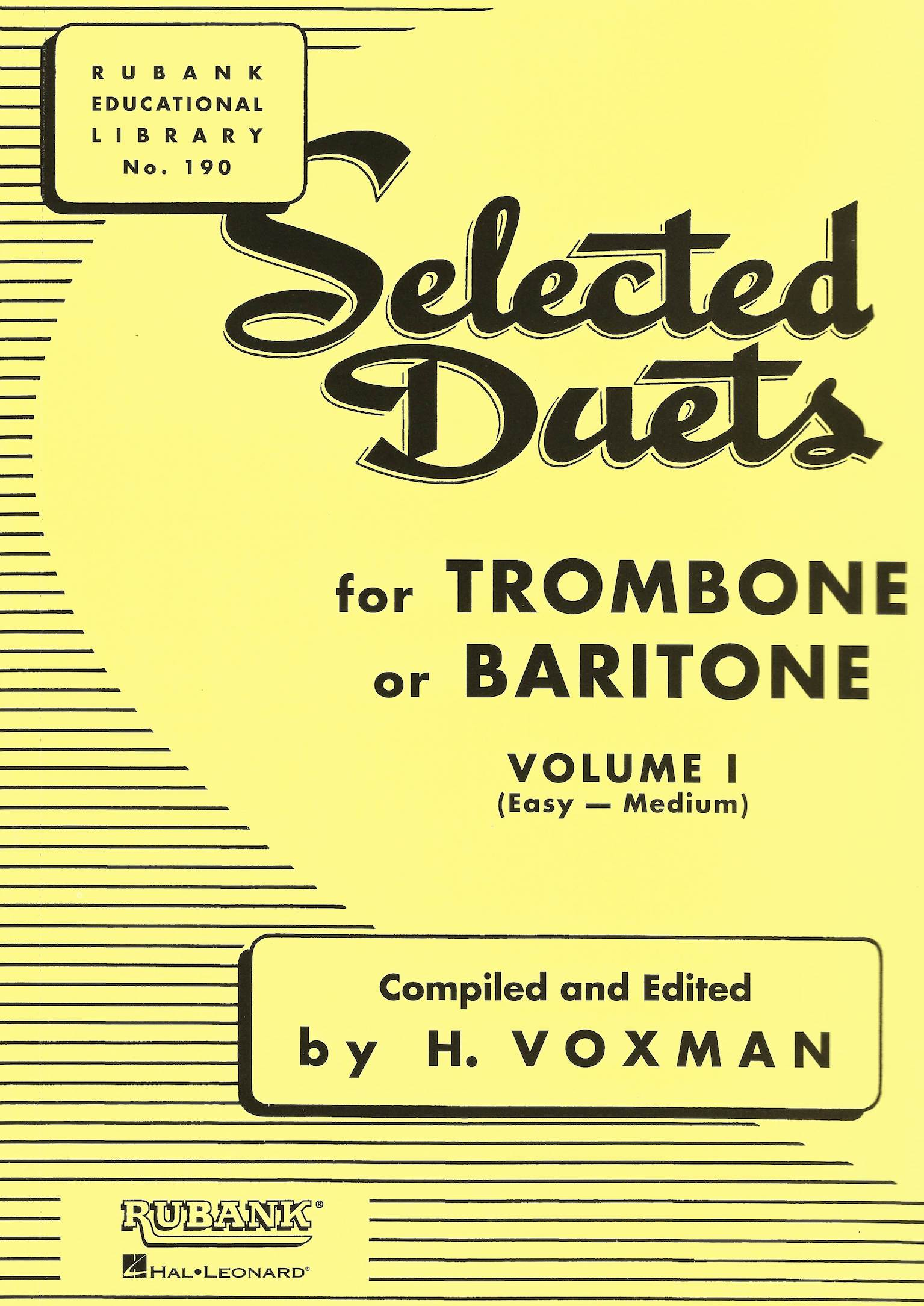 Selected Duets for Trombone of Baritone (Euphonium) Vol.1 (Easy-Medium) - H. Voxman - Bass Clef