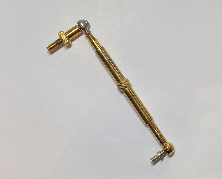 Besson euphonium tigger adjusting rod, gold plated, with snap on and miniball